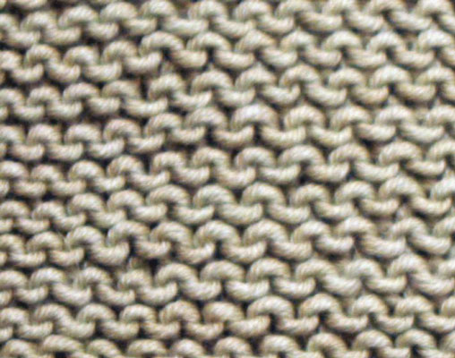 Example of garter stitch in knitting