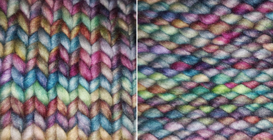Stockinette stitch front and back in colorful yarn