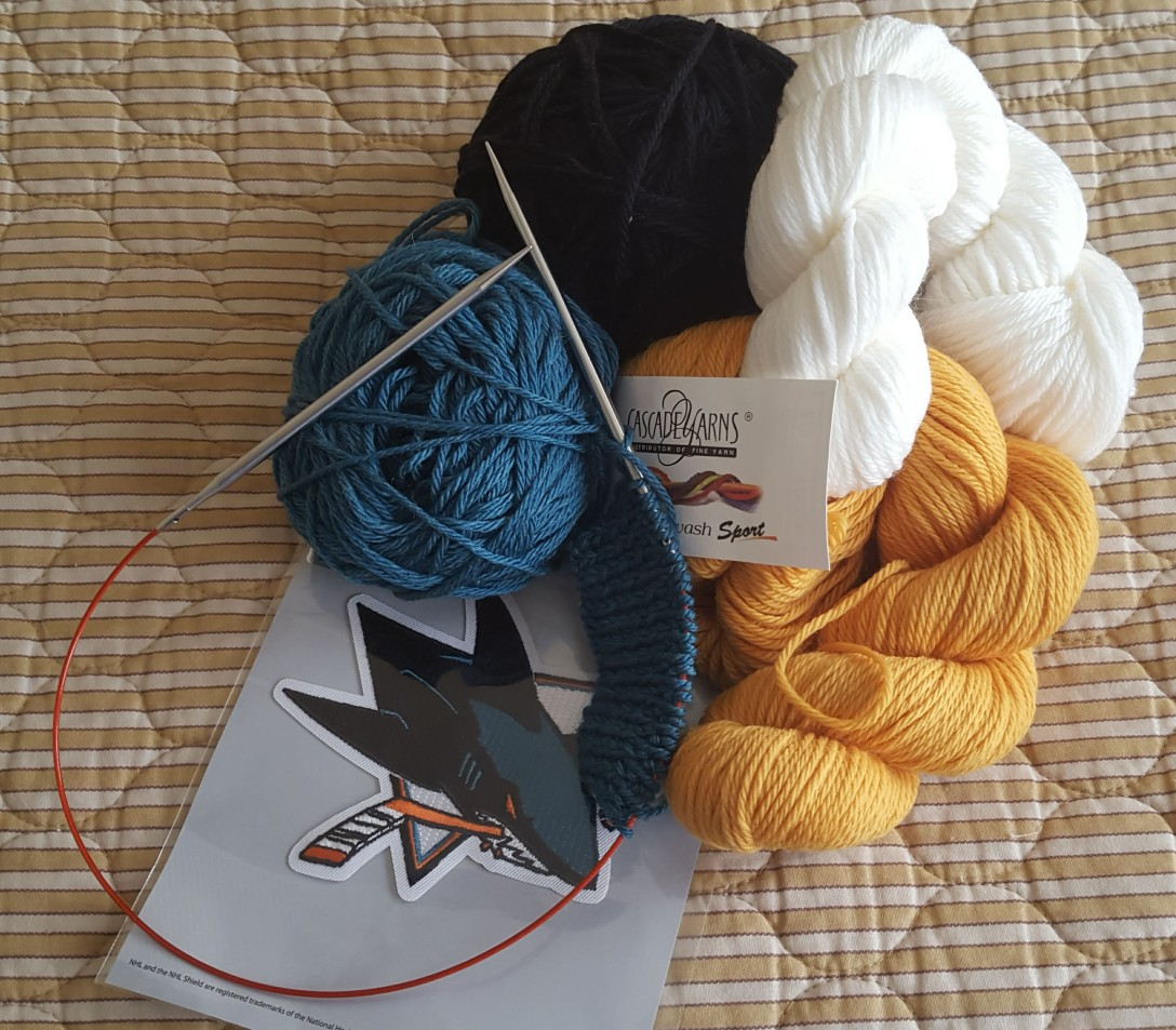 Yarn in the colors of the San Jose Sharks