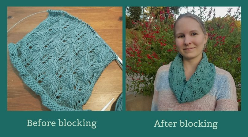 Two panel image of lace cowl, on the needles and finished on a person