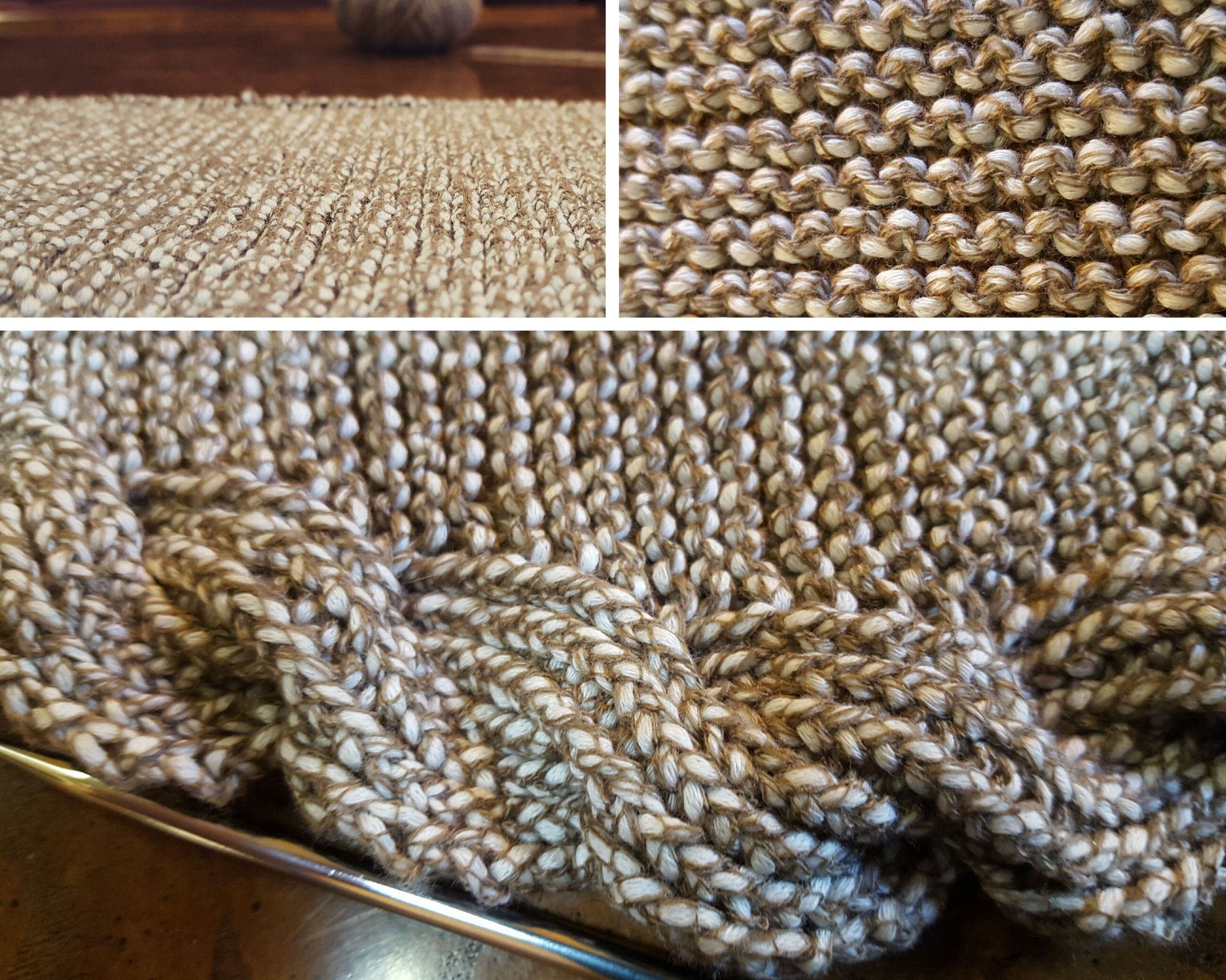 Mosaic of images showing up-close details of the knitted shawl
