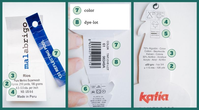 Yarn labels with explanations