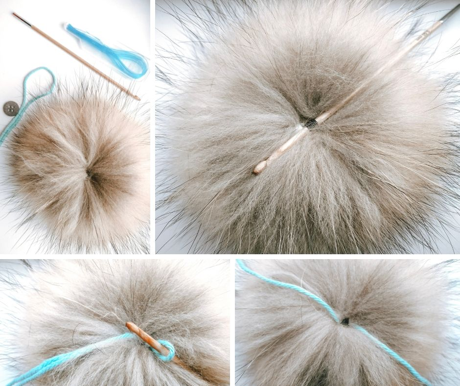 illustrations of attaching a string to a pom pom