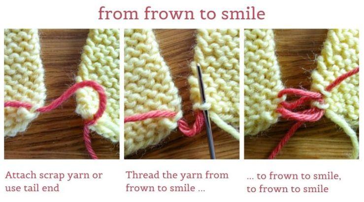 Demonstration of the mattress stitch seam for garter stitch fabric