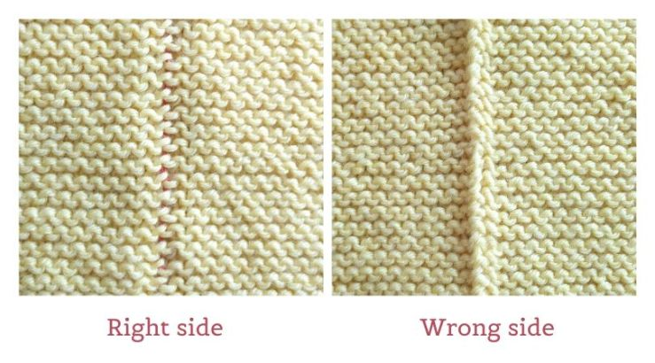 The right side and the wrong side of the mattress stitch seam